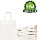 White Kraft Paper Gift Bags Bulk with Handles 625x35x8 100 Bags Ideal for