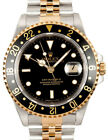 Rolex GMT-Master II 18k Yellow Gold/Steel Black Mens Watch & Box W 16713