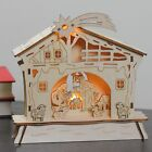Nativity Scene Christmas Decoration Vintage Wooden Lighted Holy Family in Manger