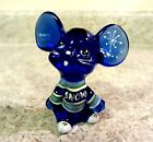 Fenton Glass Cobalt Blue Handpainted Mouse new in box