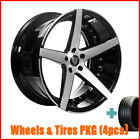 4Rims 20 Staggered Marquee 3226 Black Wheels and Tires for G35 Coupe