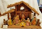 Vintage Nativity Set Italy Plastic Rubber Figures Wood Creche Mid Century