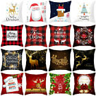18x18 Christmas Xmas Pillow Throw Merry Cushion Deer Red Plaid Cover Case Gift