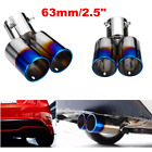 63mm 25 Stainless Steel Car Rear Exhaust Pipe Tip Muffler Cover Tail Throat