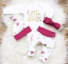 USA Newborn Infant Baby Girl Little Sister Romper Long Pants Outfits Clothes Set
