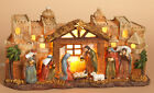 Christmas Nativity Scene Holy Family Bethlehem Manger Creche Lighted Decoration