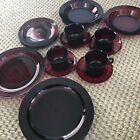 Ruby Red Arcoroc France Dinnerware 20 Pc Set Excellent Red Glass