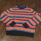 Tommy Hilfiger rainbow fair isle knit sweater size large heavy knit thick soft