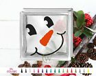 Snowman Smile Face Glass Block Decal DIY Christmas Sticker Holiday Shadow Carrot