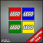 4 LEGO Stickers Decal Lot 4 colors Art Vinyl Wall Sticker Kids Puzzle Blocks