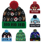 Unisex Colorful Lighted Christmas Beanie Hat Knitted Cap 3 Flashing Modes R7C7