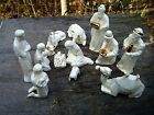 PRETTY WHITE LUSTERWARE NATIVITY SET WITH GOLD TRIM 13 PIECES INCLUDES ANIMALS