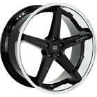 4ea 19 Staggered Lexani Wheels Savage Gloss Black w Chrome Lip Rims S4
