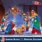 Outdoor Christmas Lighted Stake 4Pcs Yard Mosaic Nativity Holiday Decor