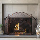BCP 3 Panel 55x33in Wrought Iron Metal Fireplace Screen Cover w Scroll Design