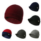 Cap Warm Knit Billed Brim Hat Wool Women With Ski Men Winter Beanie Visor