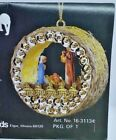 LeeWards GOLDEN NATIVITY Panorama Vintage Sequin Bead Christmas Ornament Kit NOS
