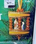 Fibre Craft NATIVITY SCENE Blue Carousel Sequin Bead Vtg Christmas Ornament Kit