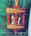 Fibre Craft NATIVITY SCENE Gold Carousel Sequin Bead Vtg Christmas Ornament Kit