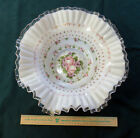 AWCO FENTON CHARLETON Silver Crest Milk Glass Bowl  Pink Roses  13 1 2 Inches