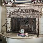 Black Bronze Finish Fireplace Screen Panel Stand Wrought Iron Victorian Scroll