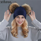 Women Winter Warm Beanie Solid Ladies Natural Wool Cap Knit DOUBLE Pompom Hat