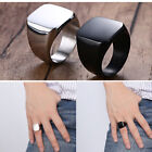 Fashion Cool Mens Signet Ring Solid Stainless Steel Square Wedding Band Jewelry