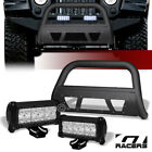 For 10 18 Wrangler Jk Matte Black Studded Mesh Bull Bar+36W CREE LED Fog Lights