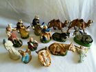 14 Mix Lot Vintage Nativity Figures Creche Plaster Chalkware ITALY Hand Painted