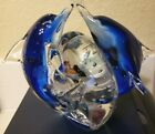 Blue Glass dolphins with fish and bubbles paperweight in good condition