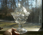 1850s EARLY FLINT GLASS COVERED SUGAR BOWL THUMBPRINT TYPE EAPG PATTERN 3 MOLD