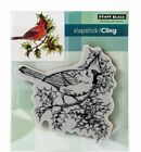 Penny Black Cling Rubber Stamp Ruby Trill Cardinal on Branch Holly Berries
