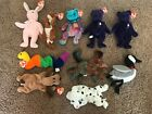 10 VINTAGE BEANIE BABIES PRINCESS HOPPITY POUCH TURQUOISE INCH BONES SPARKY MORE
