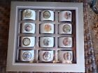 Pottery Barn Holiday Porcelain TWELVE DAYS OF CHRISTMAS Napkin Rings SET 12