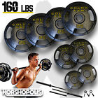 Olympic Weight Plate Set  Bar 160lb Total Home Gym Exercise Fitness Equipment