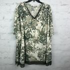 Catherines Top Womens 5X V neck beige floral olive green trim blouse 34W 36W
