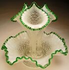 VTG Fenton Diamond Lace 3 Horn Epergne French Opal with a Emerald Crest 1949 55