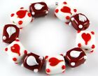 10 pcs Lampwork Glass Beads Handmade Valentines Heart Red White Loose Spacer