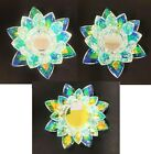CRYSTAL GLASS PRISMRAINBOW LOTUS FLOWER SHAPED TEALIGHTPILLAR CANDLE HOLDER