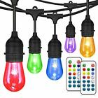 48FT Color Changing Outdoor String Lights RGB Cafe LED String Lights with 16 S1