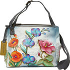 Anuschka Triple Compartment Crossbody Floral Fantasy Cross Body Bag NEW