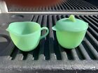 Fire King JADEITE JANE RAY Pattern Sugar Bowl with Lid and Creamer FREE SH