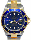 Rolex Submariner 18k Yellow Gold & Steel Blue Mens 40mm Watch Box/Papers 16613