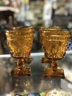 Set of 4 Indiana Amber Glass Park Lane Thumb Print Pattern Square Footed Goblets