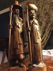 Wood Carvings Vintage Oriental Figurines Hand Carved Collectibles