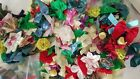Lot of Small Cloth Flowers and Bows for Crafts Embellishments Doll Clothes Etc