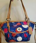 Coach Polka Dot Leah Shoulder Bag Hand Bag Crossbody Purse Blue White Red Tan