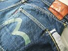HOT AUTHENTIC VTG Mens EVISU No1 RELAXED LOOSE DARK Jeans 35x28 Fit 32x28