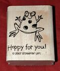 Very Punny FROG HOPPY FOR YOU Stampin Up Wood Mounted Rubber Stamp Happy RARE