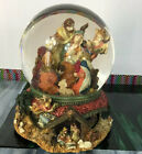 Nativity Christmas Joseph Mary Baby Jesus Bethlehem Snow Globe Music Carousel